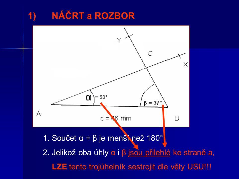 1)NÁČRT a ROZBOR 1.Součet α + β je menší než 180°.