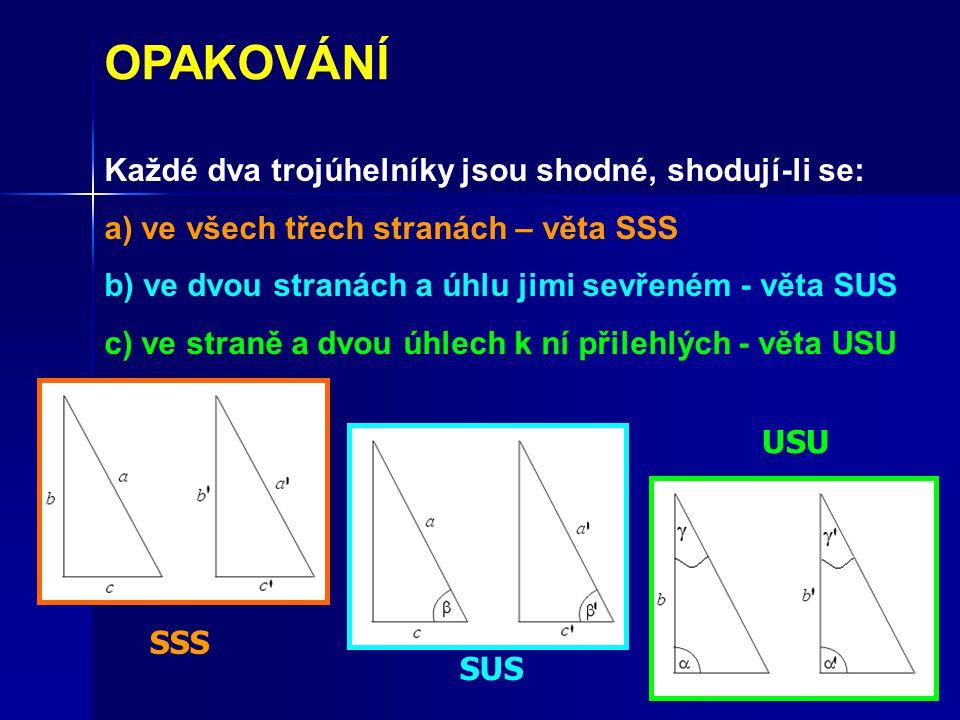 Každé dva trojúhelníky jsou shodné, shodují-li se: a) ve všech třech stranách – věta SSS b) ve dvou stranách a úhlu jimi sevřeném - věta SUS c) ve straně a dvou úhlech k ní přilehlých - věta USU OPAKOVÁNÍ SSS SUS USU