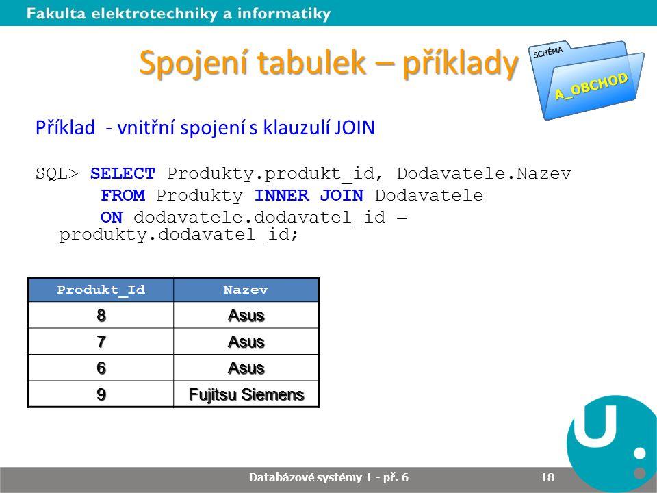 Spojení tabulek – příklady Produkt_IdNazev 8Asus 7Asus 6Asus 9 Fujitsu Siemens Příklad - vnitřní spojení s klauzulí JOIN SQL> SELECT Produkty.produkt_id, Dodavatele.Nazev FROM Produkty INNER JOIN Dodavatele ON dodavatele.dodavatel_id = produkty.dodavatel_id; Databázové systémy 1 - př.