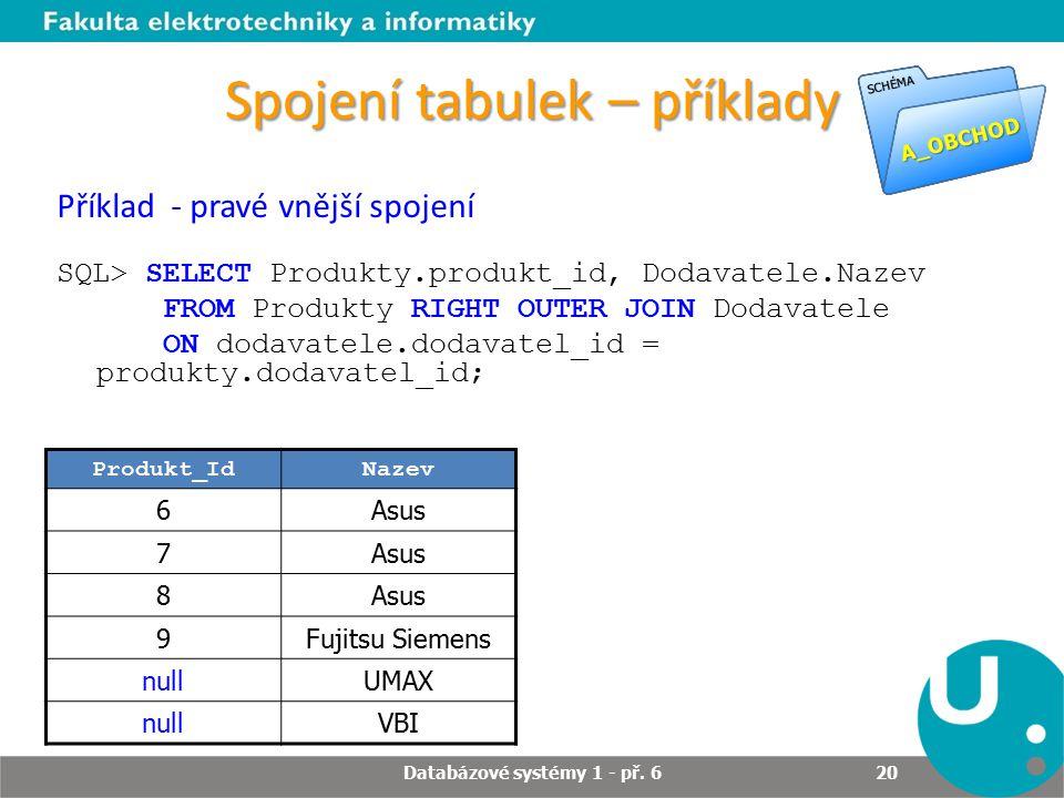 Spojení tabulek – příklady Produkt_IdNazev 6Asus 7 8 9Fujitsu Siemens nullUMAX nullVBI Příklad - pravé vnější spojení SQL> SELECT Produkty.produkt_id,