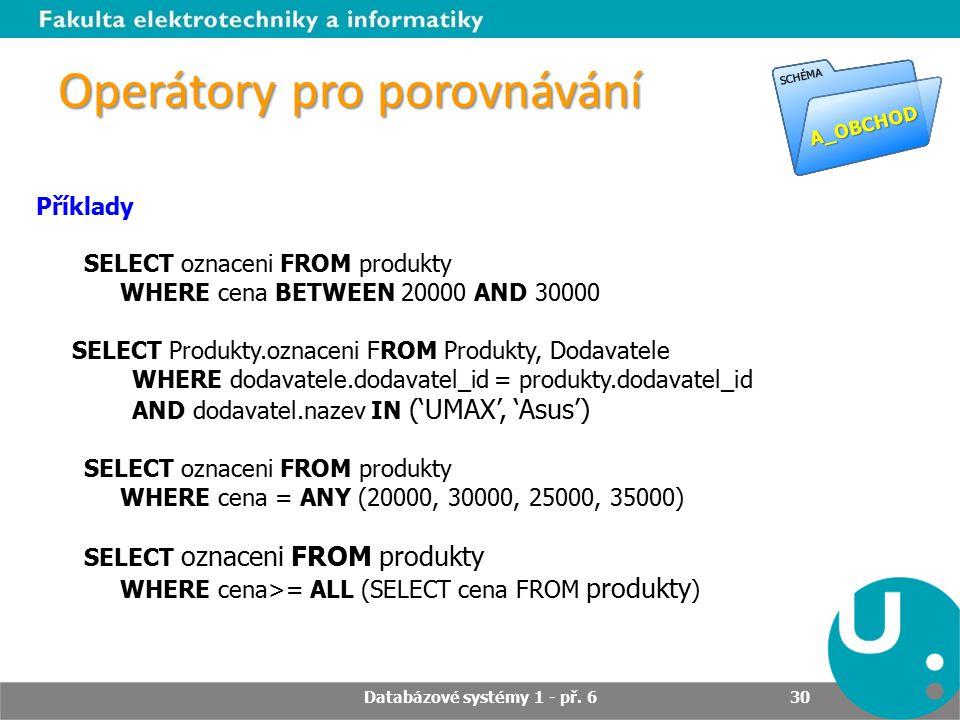 Operátory pro porovnávání Příklady SELECT oznaceni FROM produkty WHERE cena BETWEEN 20000 AND 30000 SELECT Produkty.oznaceni FROM Produkty, Dodavatele