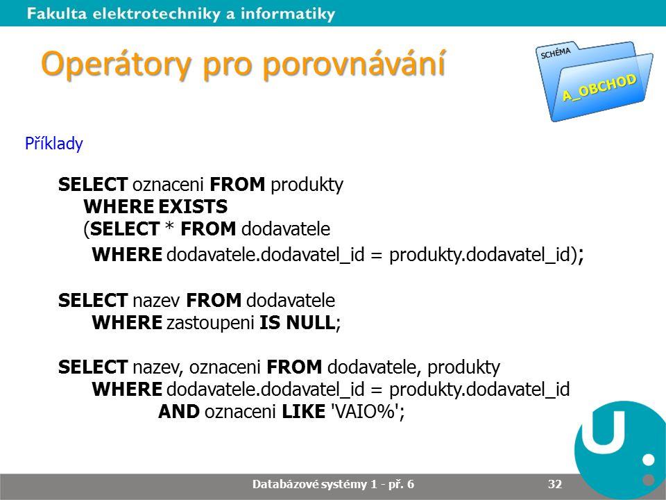 Operátory pro porovnávání Příklady SELECT oznaceni FROM produkty WHERE EXISTS (SELECT * FROM dodavatele WHERE dodavatele.dodavatel_id = produkty.dodav