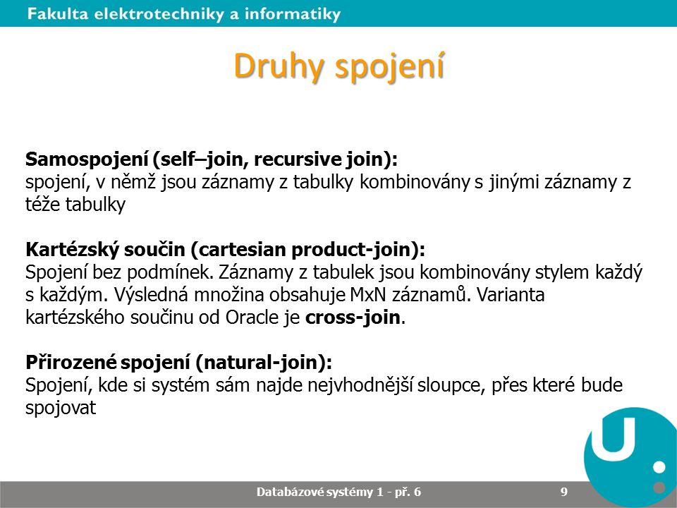 Spojení tabulek – příklady Produkt_IdNazev 6Asus 7 8 9Fujitsu Siemens nullUMAX nullVBI Příklad - pravé vnější spojení SQL> SELECT Produkty.produkt_id, Dodavatele.Nazev FROM Produkty RIGHT OUTER JOIN Dodavatele ON dodavatele.dodavatel_id = produkty.dodavatel_id; Databázové systémy 1 - př.