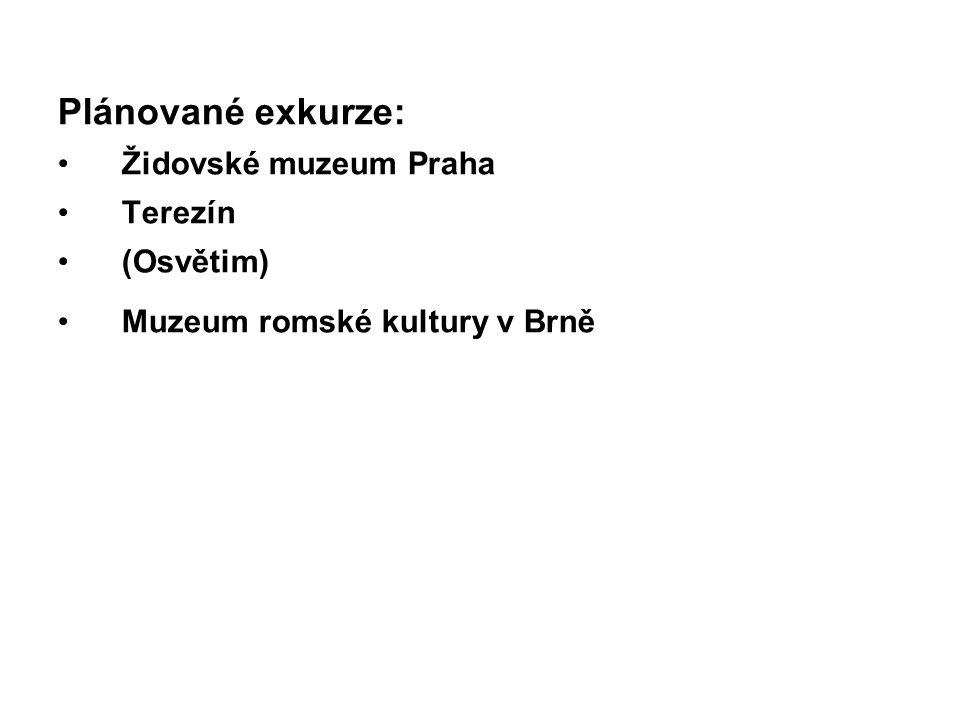 Plánované exkurze: Židovské muzeum Praha Terezín (Osvětim) Muzeum romské kultury v Brně