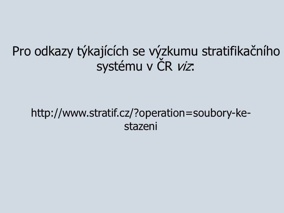http://www.stratif.cz/?operation=soubory-ke- stazeni Pro odkazy týkajících se výzkumu stratifikačního systému v ČR viz: