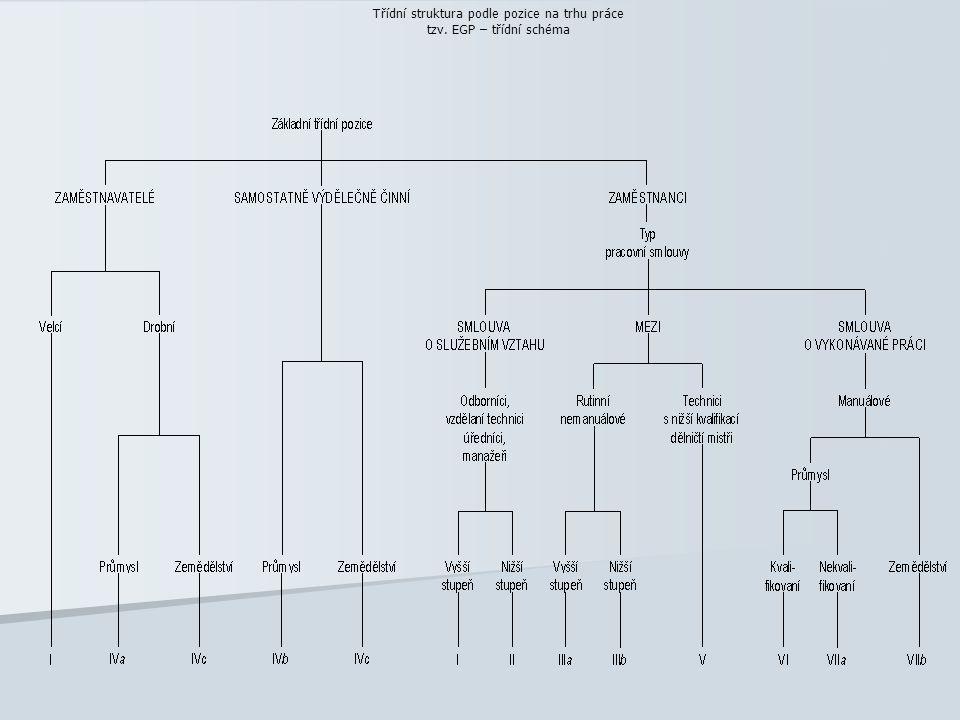 Třídní struktura podle pozice na trhu práce tzv. EGP – třídní schéma