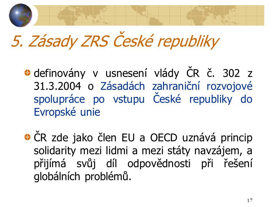 17 5. Zásady ZRS České republiky definovány v usnesení vlády ČR č.