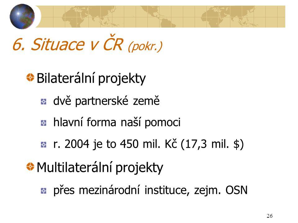 26 6. Situace v ČR (pokr.) Bilaterální projekty dvě partnerské země hlavní forma naší pomoci r. 2004 je to 450 mil. Kč (17,3 mil. $) Multilaterální pr