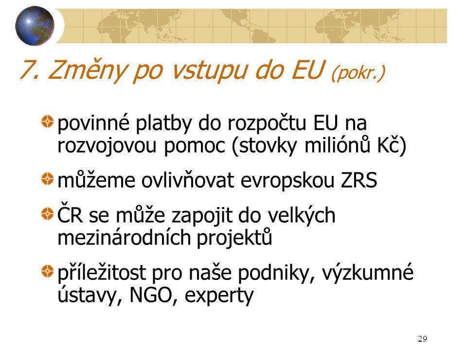 29 7. Změny po vstupu do EU (pokr.) povinné platby do rozpočtu EU na rozvojovou pomoc (stovky miliónů Kč) můžeme ovlivňovat evropskou ZRS ČR se může z