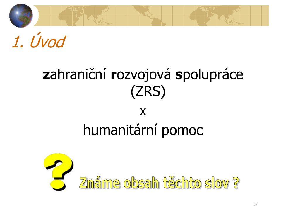 3 1. Úvod zahraniční rozvojová spolupráce (ZRS) x humanitární pomoc