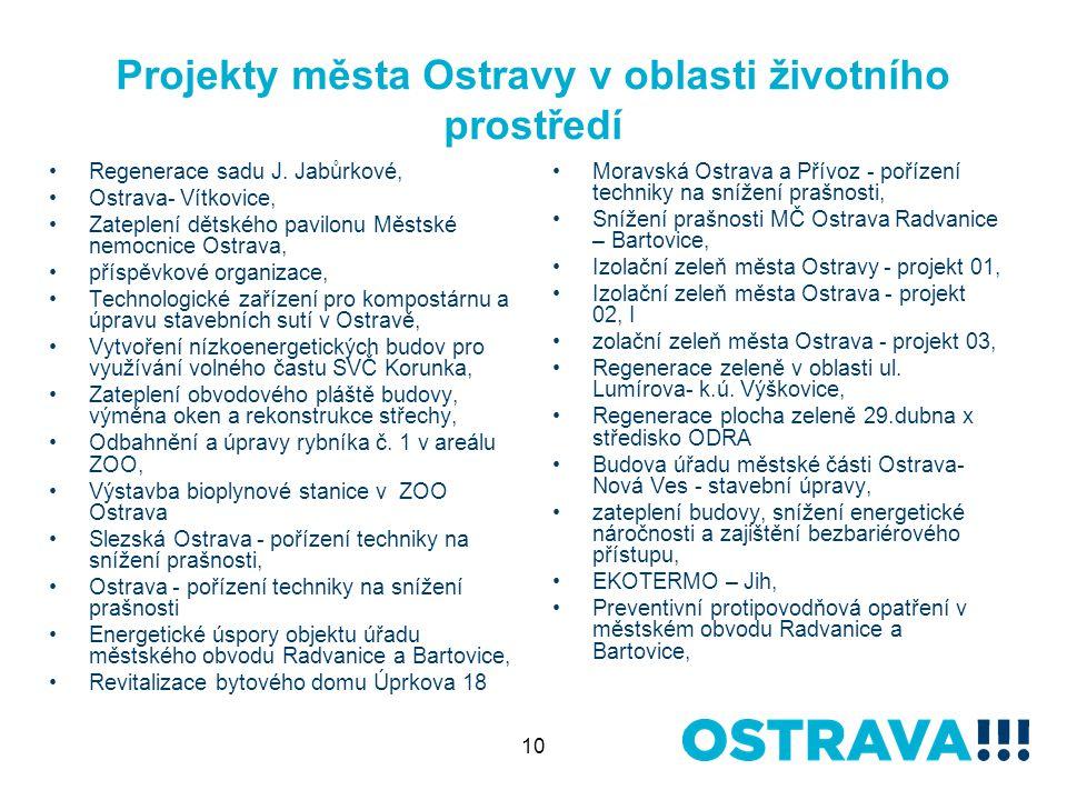 10 Projekty města Ostravy v oblasti životního prostředí Regenerace sadu J.