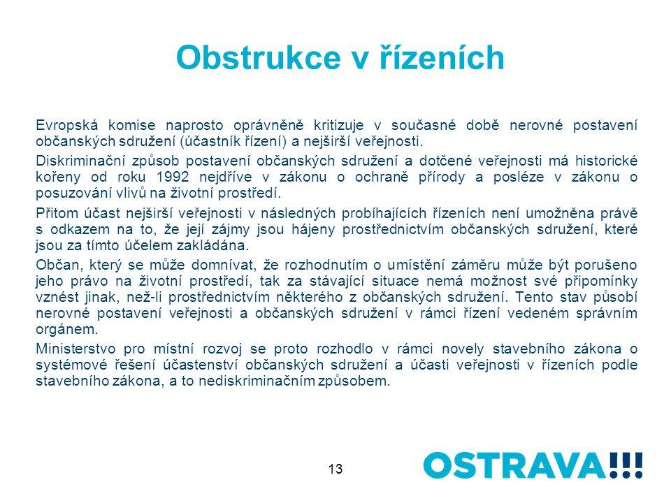 13 Obstrukce v řízeních Evropská komise naprosto oprávněně kritizuje v současné době nerovné postavení občanských sdružení (účastník řízení) a nejširší veřejnosti.