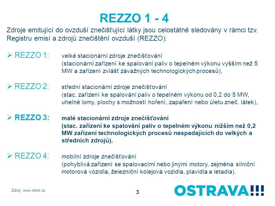 3 REZZO 1 - 4 Zdroje emitující do ovzduší znečišťující látky jsou celostátně sledovány v rámci tzv.