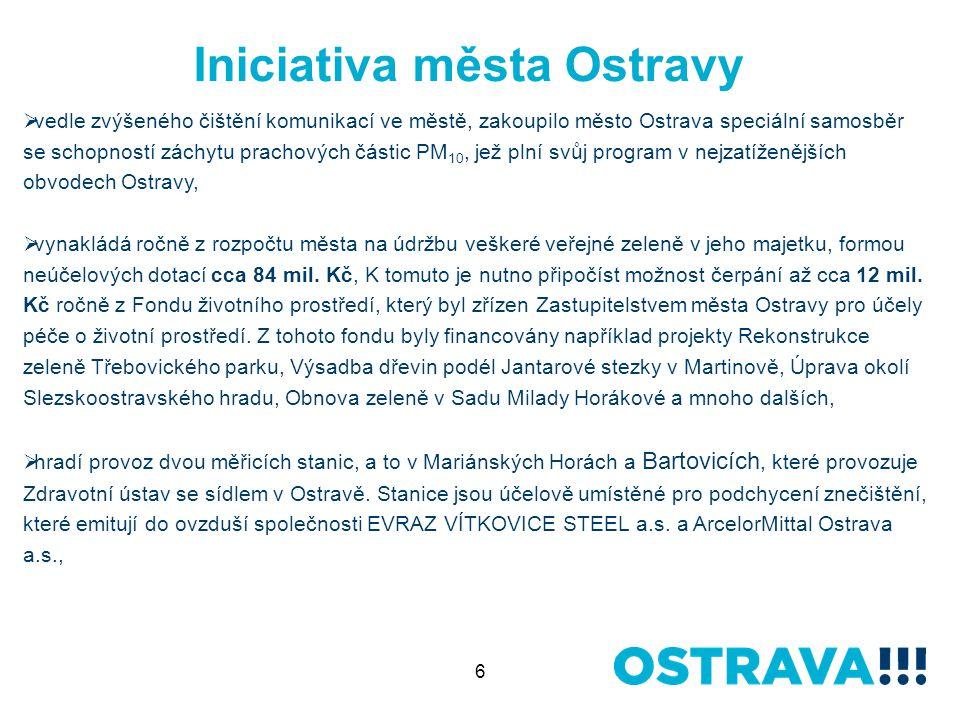 6 Iniciativa města Ostravy  vedle zvýšeného čištění komunikací ve městě, zakoupilo město Ostrava speciální samosběr se schopností záchytu prachových částic PM 10, jež plní svůj program v nejzatíženějších obvodech Ostravy,  vynakládá ročně z rozpočtu města na údržbu veškeré veřejné zeleně v jeho majetku, formou neúčelových dotací cca 84 mil.