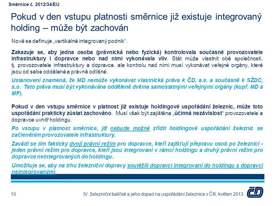 """Pokud v den vstupu platnosti směrnice již existuje integrovaný holding – může být zachován Nově se definuje """"vertikálně integrovaný podnik"""". Zakazuje"""
