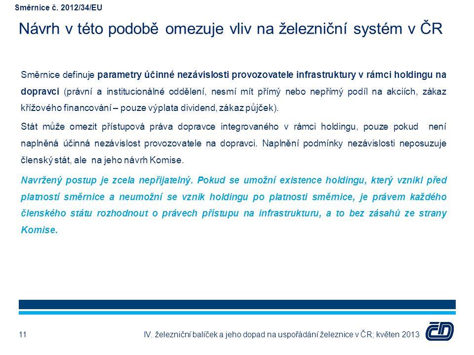 Návrh v této podobě omezuje vliv na železniční systém v ČR Směrnice definuje parametry účinné nezávislosti provozovatele infrastruktury v rámci holdin