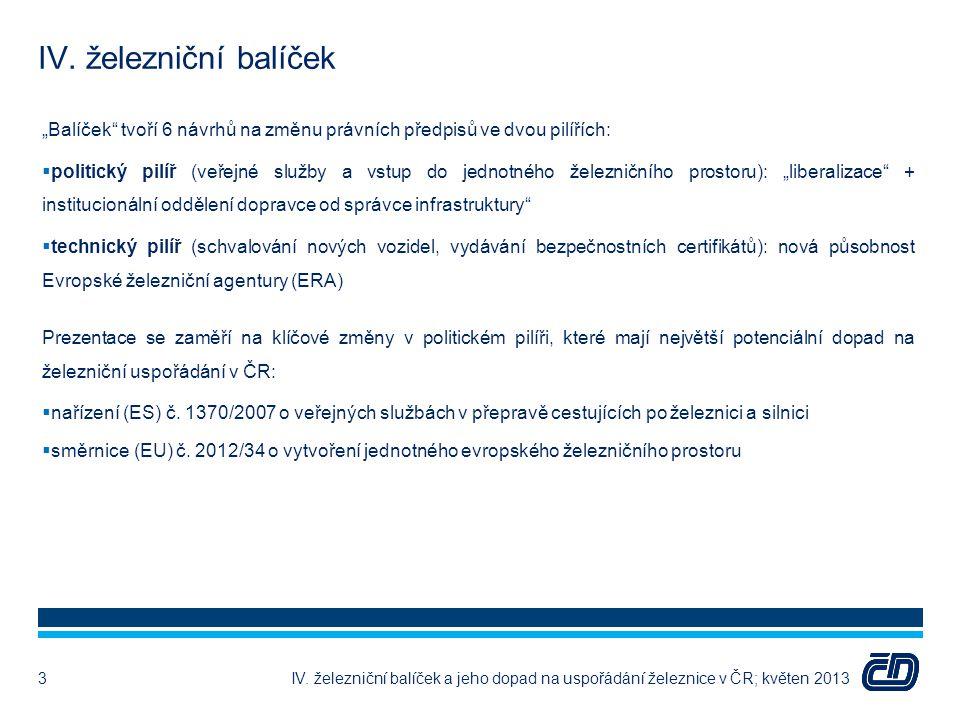 """IV. železniční balíček IV. železniční balíček a jeho dopad na uspořádání železnice v ČR; květen 2013 """"Balíček"""" tvoří 6 návrhů na změnu právních předpi"""