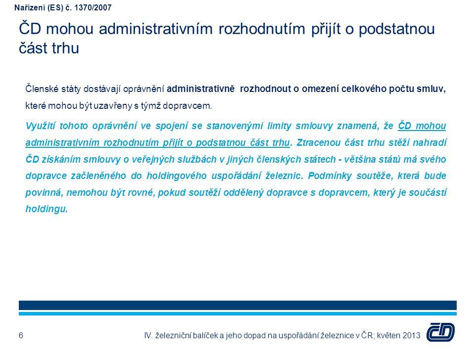 ČD mohou administrativním rozhodnutím přijít o podstatnou část trhu IV. železniční balíček a jeho dopad na uspořádání železnice v ČR; květen 20136 Čle