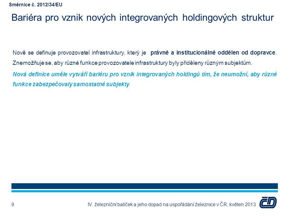 Bariéra pro vznik nových integrovaných holdingových struktur Nově se definuje provozovatel infrastruktury, který je právně a institucionálně oddělen o