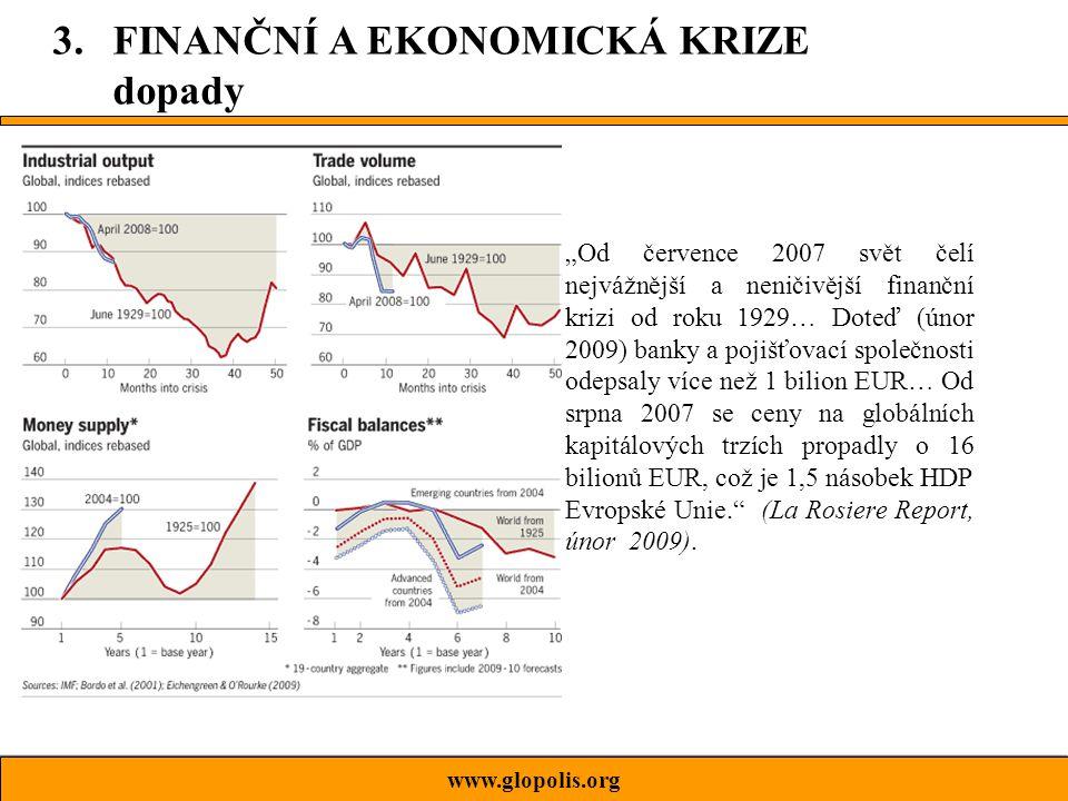 """""""Od července 2007 svět čelí nejvážnější a neničivější finanční krizi od roku 1929… Doteď (únor 2009) banky a pojišťovací společnosti odepsaly více než 1 bilion EUR… Od srpna 2007 se ceny na globálních kapitálových trzích propadly o 16 bilionů EUR, což je 1,5 násobek HDP Evropské Unie. (La Rosiere Report, únor 2009)."""