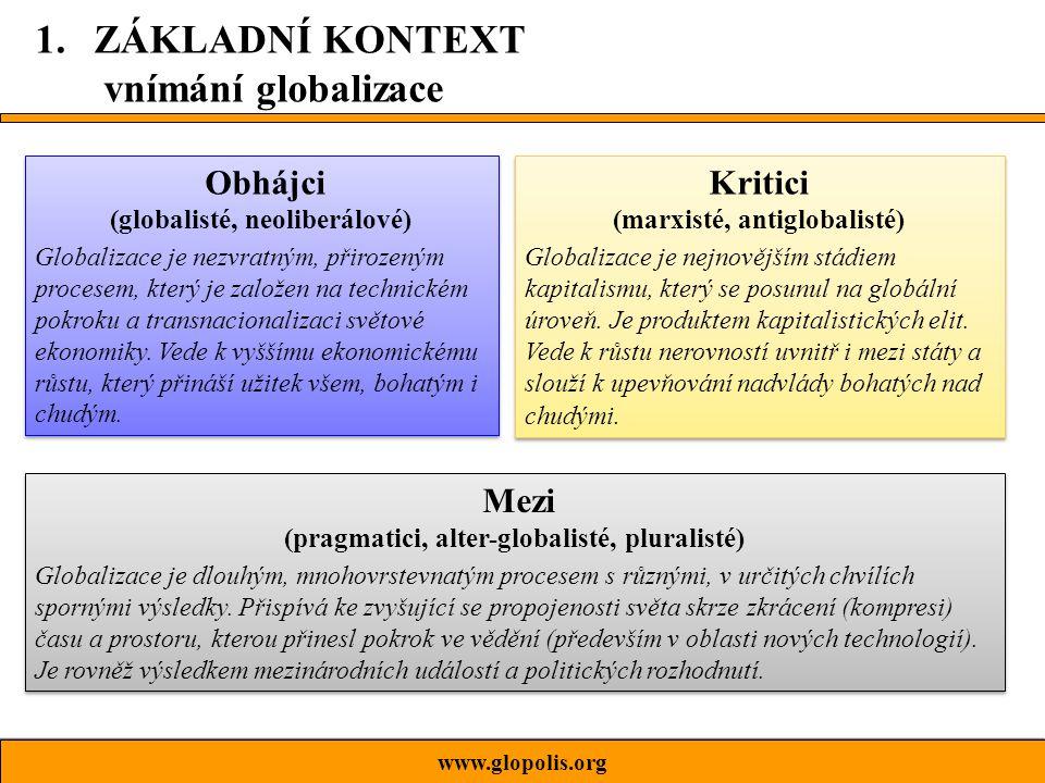 www.glopolis.org žádná definice není úplně špatná žádná definice není zcela neutrální, každá je ideově podbarvená naše interpretace globalizace závisí na místě, kde žijeme, sociální skupině, vzdělání, kultuře, víře… globalizace je zřejmě nezvratitelný proces, její směr i obsah se však mohou měnit 1.ZÁKLADNÍ KONTEXT Abychom se nenechali ošálit…