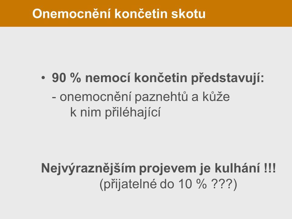Onemocnění končetin skotu 90 % nemocí končetin představují: - onemocnění paznehtů a kůže k nim přiléhající Nejvýraznějším projevem je kulhání !!! (při
