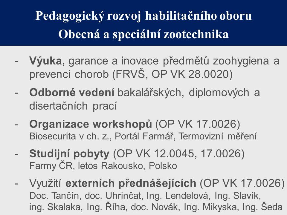 Pedagogický rozvoj habilitačního oboru Obecná a speciální zootechnika -Výuka, garance a inovace předmětů zoohygiena a prevenci chorob (FRVŠ, OP VK 28.
