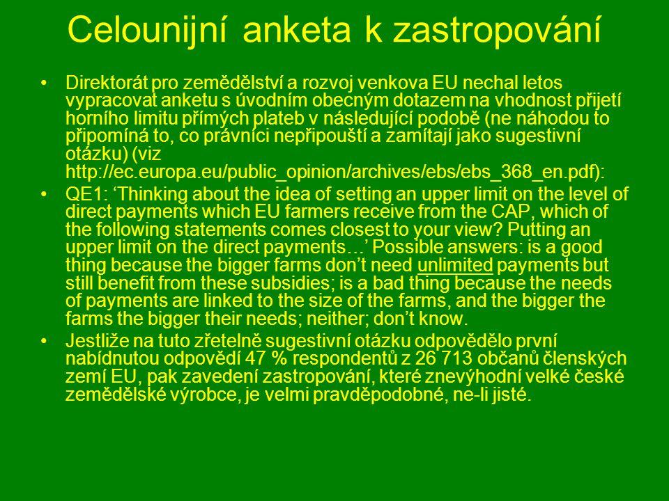 Celounijní anketa k zastropování Direktorát pro zemědělství a rozvoj venkova EU nechal letos vypracovat anketu s úvodním obecným dotazem na vhodnost přijetí horního limitu přímých plateb v následující podobě (ne náhodou to připomíná to, co právníci nepřipouští a zamítají jako sugestivní otázku) (viz http://ec.europa.eu/public_opinion/archives/ebs/ebs_368_en.pdf): QE1: 'Thinking about the idea of setting an upper limit on the level of direct payments which EU farmers receive from the CAP, which of the following statements comes closest to your view.
