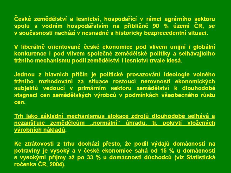 Politická podpora volného trhu s tichou podporou jeho institucionální nerovnováhy Jestliže české zemědělství vyprodukovalo v r.
