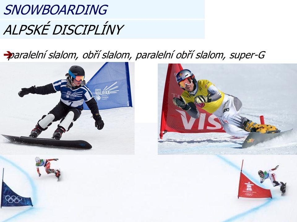 ALPSKÉ DISCIPLÍNY pparalelní slalom, obří slalom, paralelní obří slalom, super-G