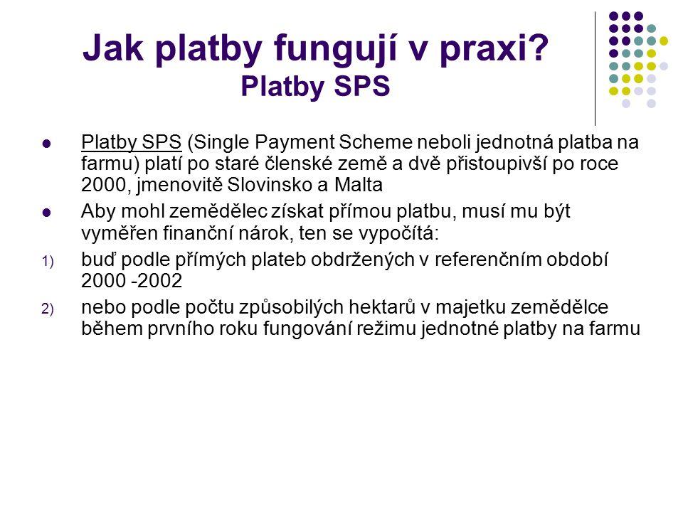 Jak platby fungují v praxi? Platby SPS Platby SPS (Single Payment Scheme neboli jednotná platba na farmu) platí po staré členské země a dvě přistoupiv