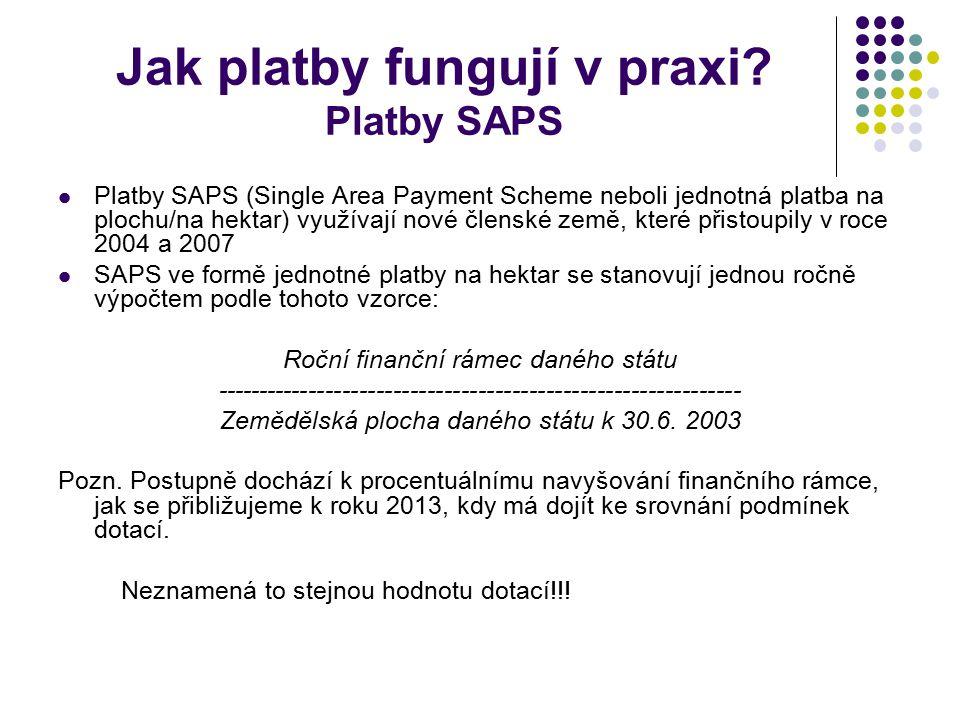 Jak platby fungují v praxi? Platby SAPS Platby SAPS (Single Area Payment Scheme neboli jednotná platba na plochu/na hektar) využívají nové členské zem