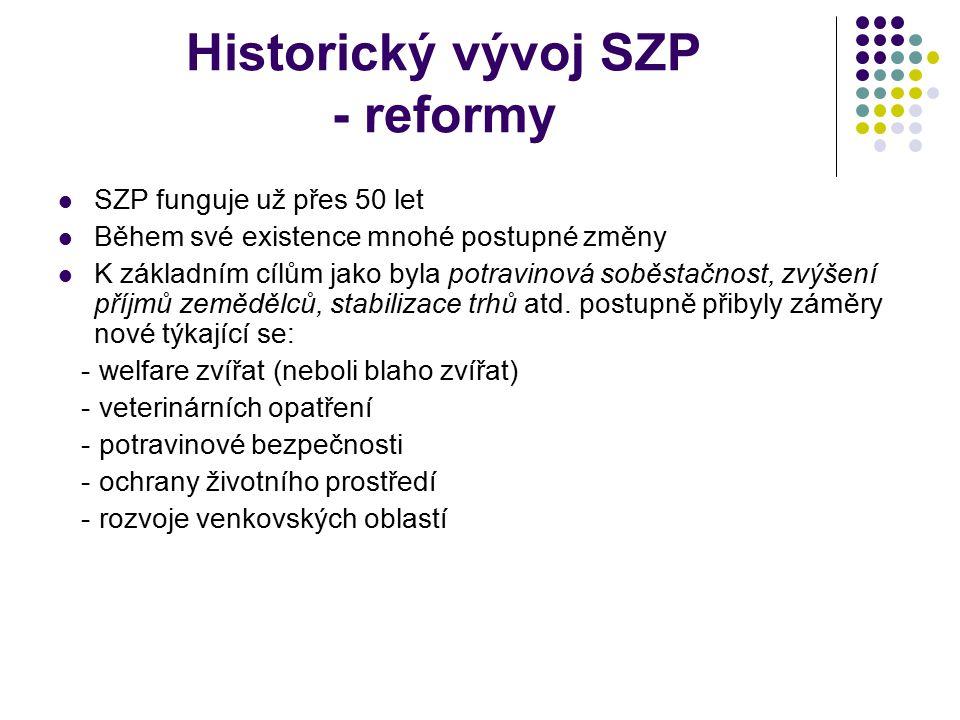 Historický vývoj SZP - reformy SZP funguje už přes 50 let Během své existence mnohé postupné změny K základním cílům jako byla potravinová soběstačnos