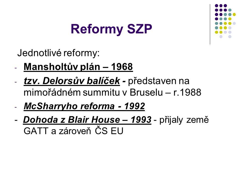 Reformy SZP Jednotlivé reformy: - Mansholtův plán – 1968 - tzv. Delorsův balíček - představen na mimořádném summitu v Bruselu – r.1988 - McSharryho re