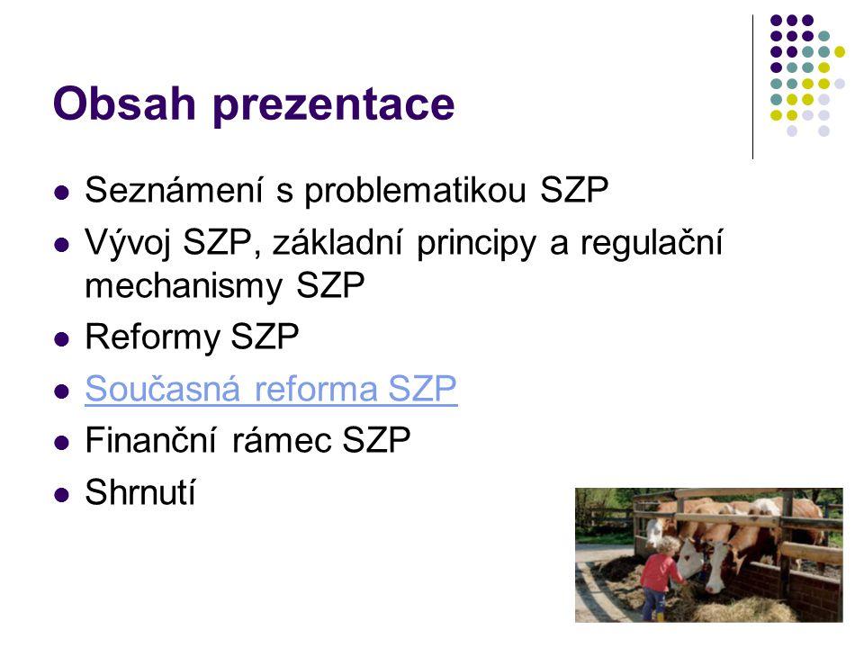 Obsah prezentace Seznámení s problematikou SZP Vývoj SZP, základní principy a regulační mechanismy SZP Reformy SZP Současná reforma SZP Finanční rámec