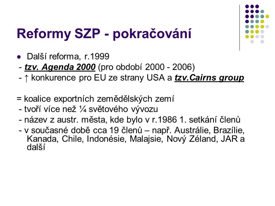 Reformy SZP - pokračování Další reforma, r.1999 - tzv. Agenda 2000 (pro období 2000 - 2006) - ↑ konkurence pro EU ze strany USA a tzv.Cairns group = k