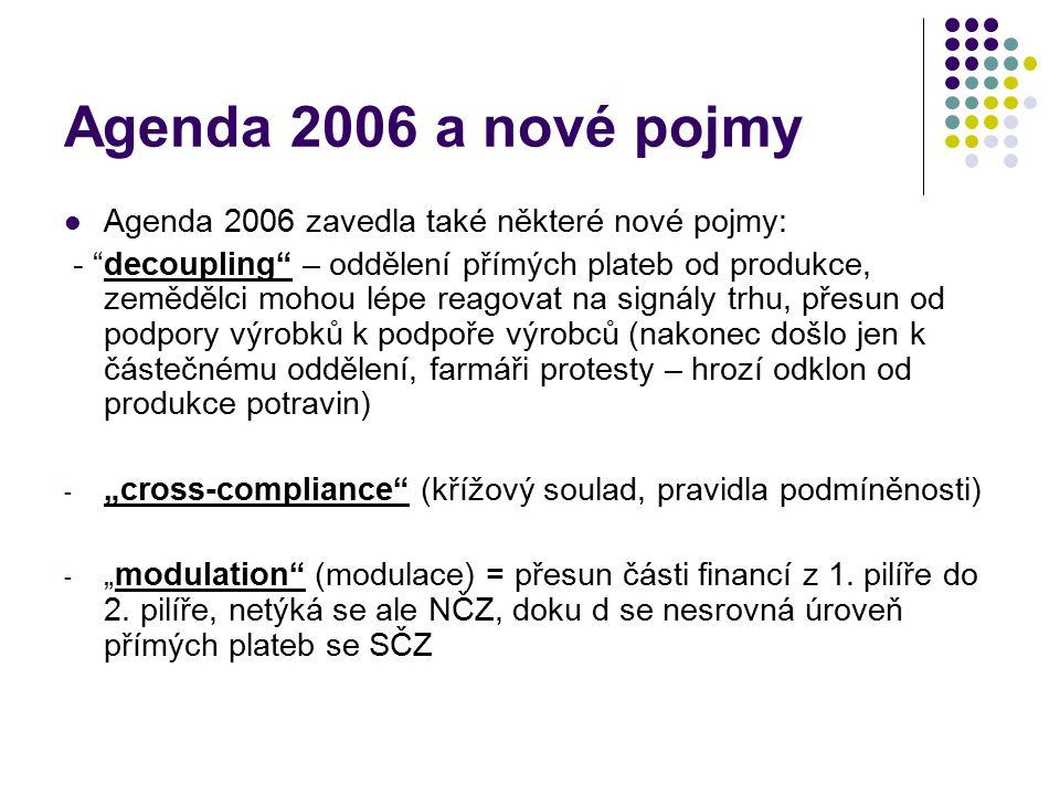 """Agenda 2006 a nové pojmy Agenda 2006 zavedla také některé nové pojmy: - """"decoupling"""" – oddělení přímých plateb od produkce, zemědělci mohou lépe reago"""