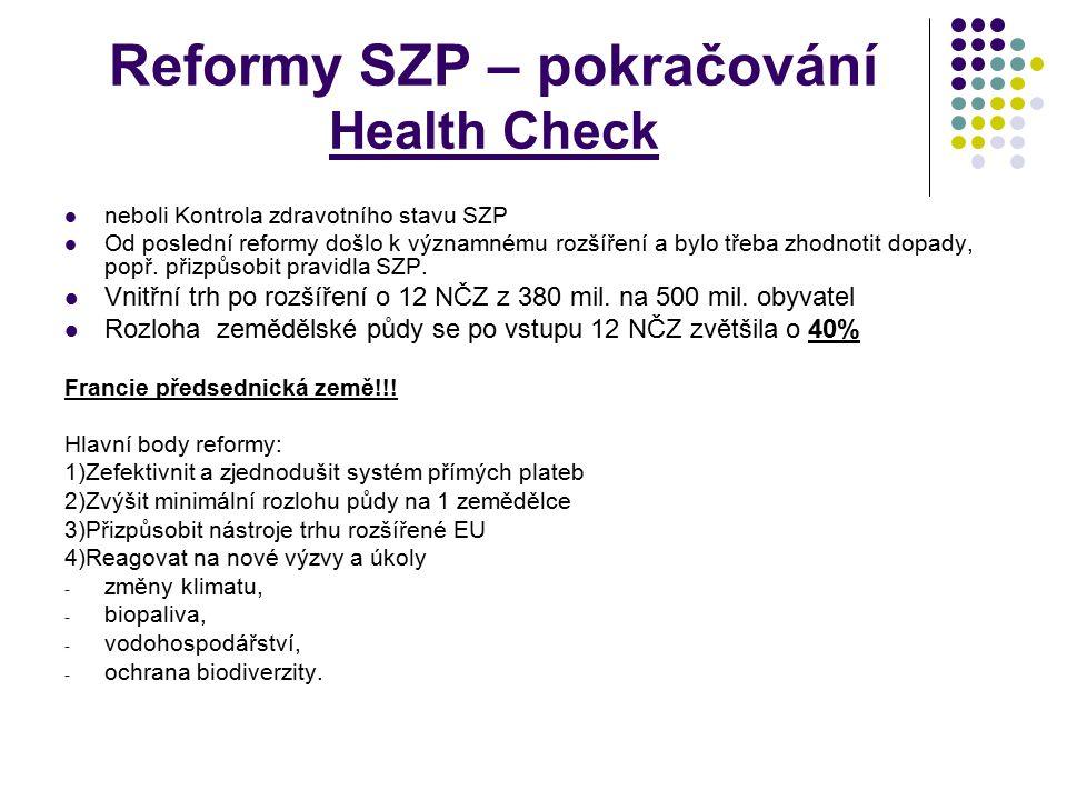 Reformy SZP – pokračování Health Check neboli Kontrola zdravotního stavu SZP Od poslední reformy došlo k významnému rozšíření a bylo třeba zhodnotit d