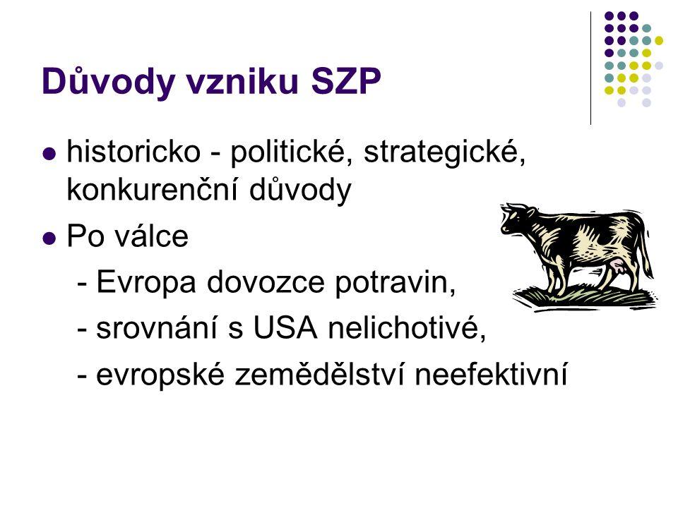 Vývoj financování SZP SZP dříve financována fondem EZOZF (EAGGF) - orientační sekce – podpory venkova a strukturální fondy - záruční sekce – náklady spojené s trhem a STO Od roku 2007 došlo ke zřízení dvou oddělených fondů  Evropský zemědělský záruční fond (European Agricultural Guarantee Fund (EAGF), Fonds européen agricole de garantie (FEAGA))  Evropský zemědělský fond pro rozvoj venkova (European Agricultural Fund for Rural Development (EAFRD), Fonds européen agricole pour le développement rural (FEADER)