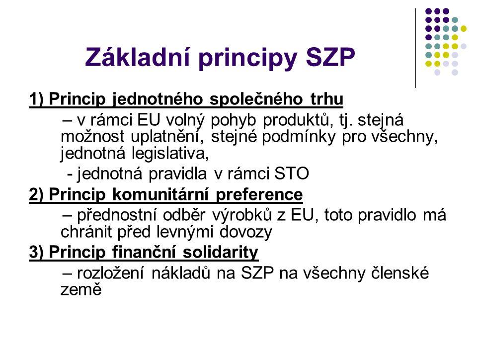 Základní principy SZP 1) Princip jednotného společného trhu – v rámci EU volný pohyb produktů, tj. stejná možnost uplatnění, stejné podmínky pro všech