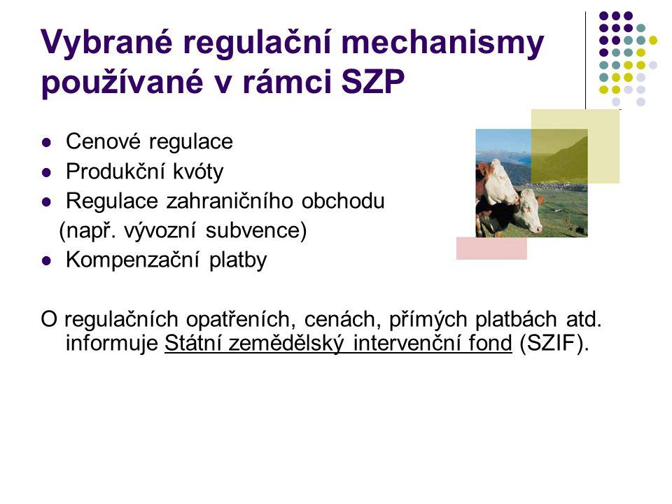Vybrané regulační mechanismy používané v rámci SZP Cenové regulace Produkční kvóty Regulace zahraničního obchodu (např. vývozní subvence) Kompenzační