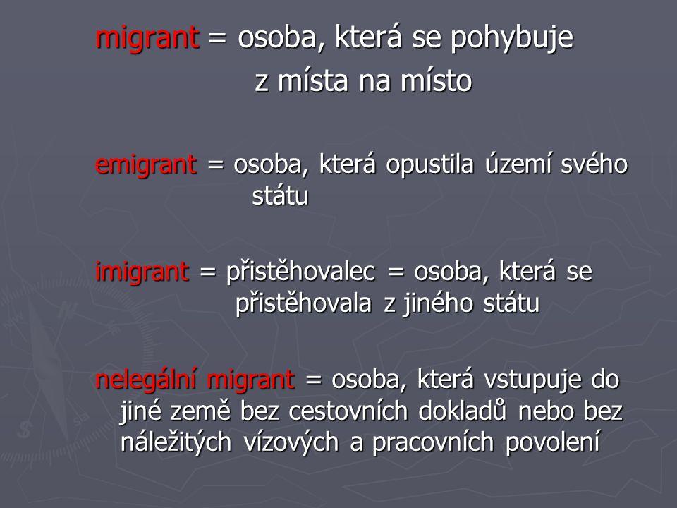 migrant = osoba, která se pohybuje z místa na místo z místa na místo emigrant = osoba, která opustila území svého státu imigrant = přistěhovalec = oso