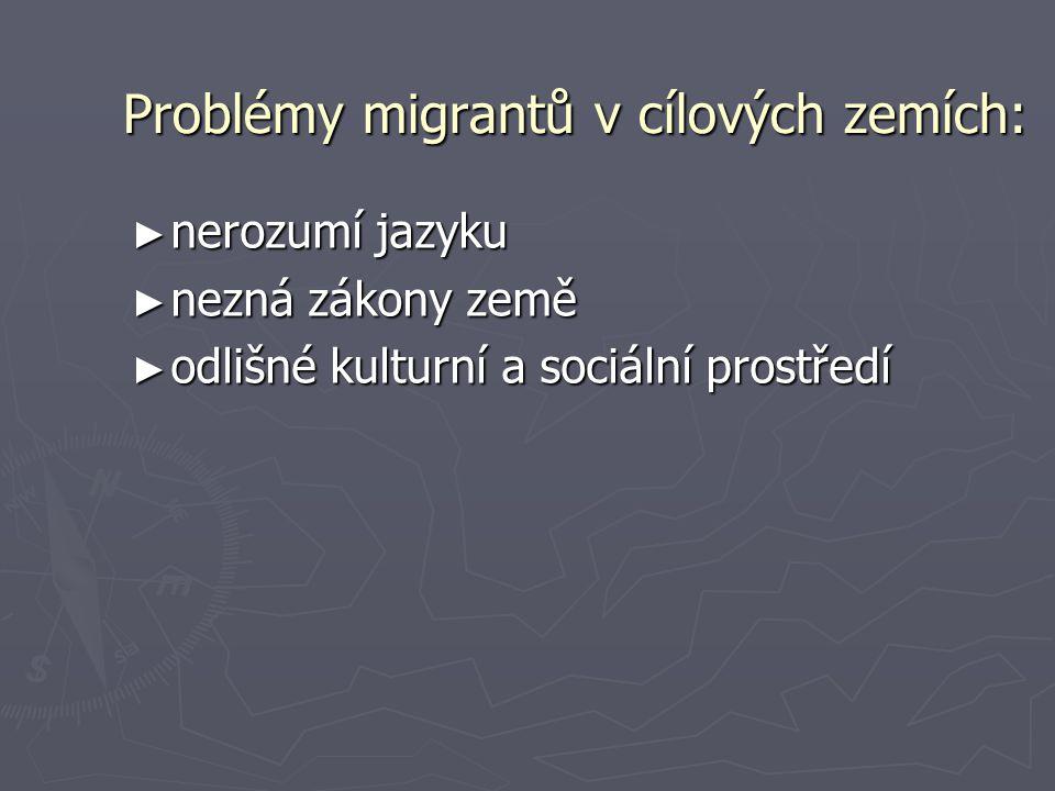 Problémy migrantů v cílových zemích: ► nerozumí jazyku ► nezná zákony země ► odlišné kulturní a sociální prostředí