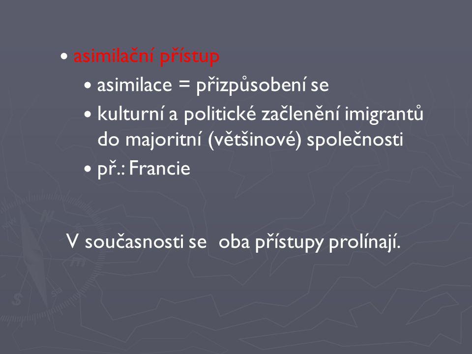 asimilační přístup asimilace = přizpůsobení se kulturní a politické začlenění imigrantů do majoritní (většinové) společnosti př.: Francie V současnost
