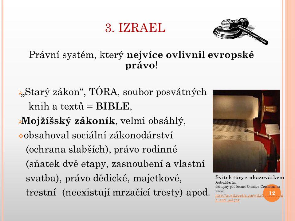 3.IZRAEL Právní systém, který nejvíce ovlivnil evropské právo .