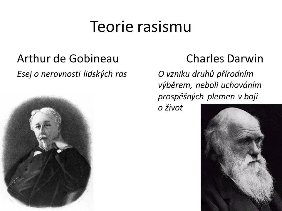 Teorie rasismu Arthur de GobineauCharles Darwin Esej o nerovnosti lidských rasO vzniku druhů přírodním výběrem, neboli uchováním prospěšných plemen v boji o život