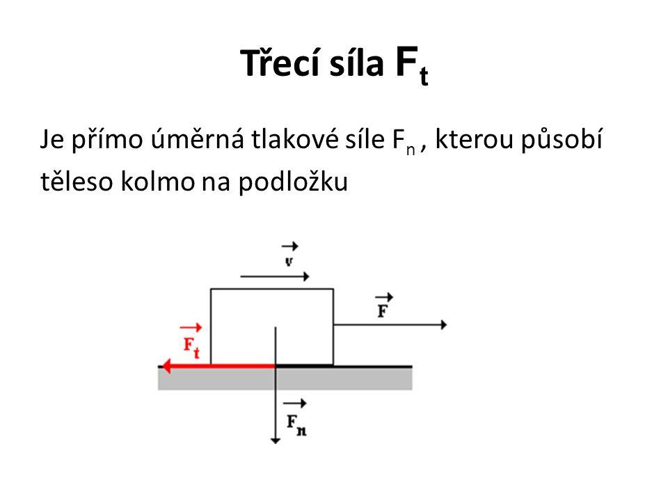 Třecí síla F t Je přímo úměrná tlakové síle F n, kterou působí těleso kolmo na podložku