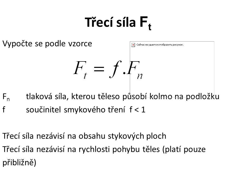 Třecí síla F t Vypočte se podle vzorce F n tlaková síla, kterou těleso působí kolmo na podložku fsoučinitel smykového tření f < 1 Třecí síla nezávisí