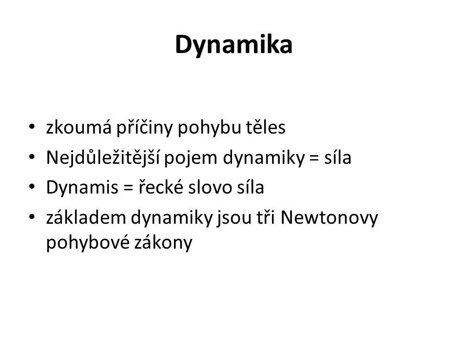 zkoumá příčiny pohybu těles Nejdůležitější pojem dynamiky = síla Dynamis = řecké slovo síla základem dynamiky jsou tři Newtonovy pohybové zákony