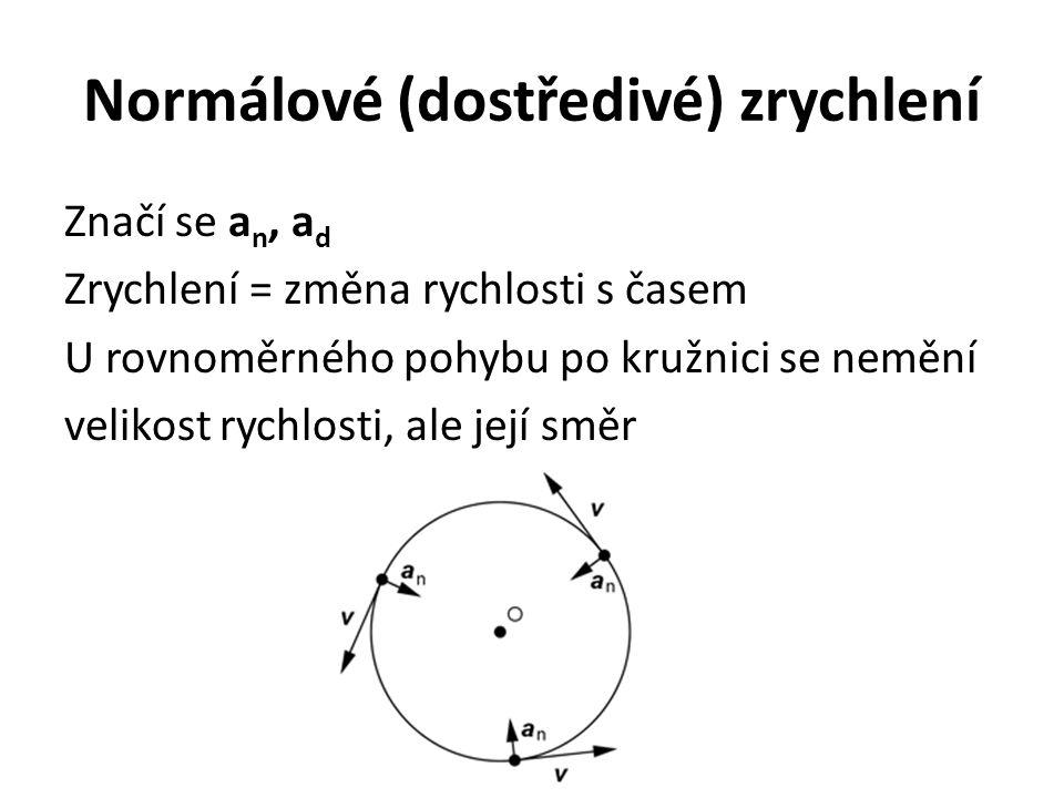 Normálové (dostředivé) zrychlení Značí se a n, a d Zrychlení = změna rychlosti s časem U rovnoměrného pohybu po kružnici se nemění velikost rychlosti,